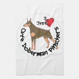Happy Adorable Funny & Cute Doberman Pinscher Dog Kitchen Towel