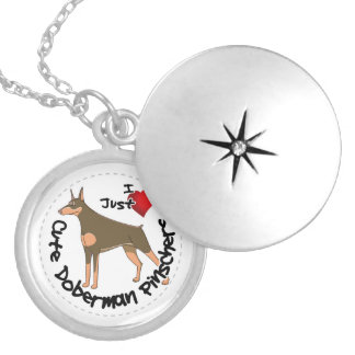 Happy Adorable Funny & Cute Doberman Pinscher Dog Locket Necklace