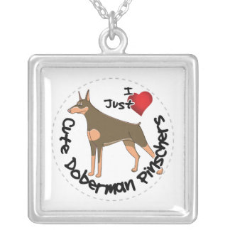 Happy Adorable Funny & Cute Doberman Pinscher Dog Silver Plated Necklace