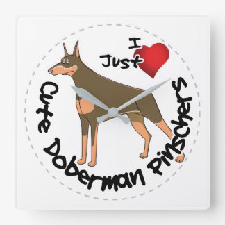 Happy Adorable Funny & Cute Doberman Pinscher Dog Square Wall Clock