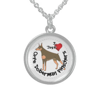 Happy Adorable Funny & Cute Doberman Pinscher Dog Sterling Silver Necklace