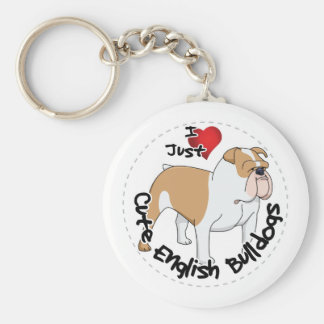 Happy Adorable Funny & Cute English Bulldog Dog Keychain