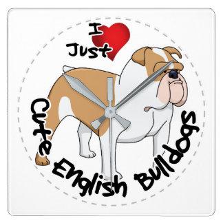 Happy Adorable Funny & Cute English Bulldog Dog Square Wall Clock