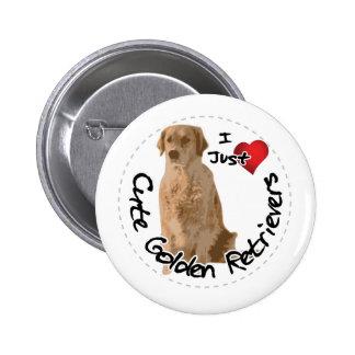 Happy Adorable Funny & Cute Golden Retriever Dog 2 Inch Round Button