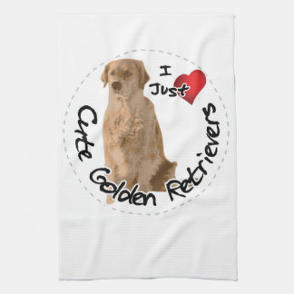 Happy Adorable Funny & Cute Golden Retriever Dog Kitchen Towel
