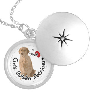 Happy Adorable Funny & Cute Golden Retriever Dog Silver Plated Necklace