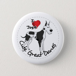 Happy Adorable Funny & Cute Great Dane Dog 2 Inch Round Button