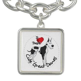 Happy Adorable Funny & Cute Great Dane Dog Charm Bracelets