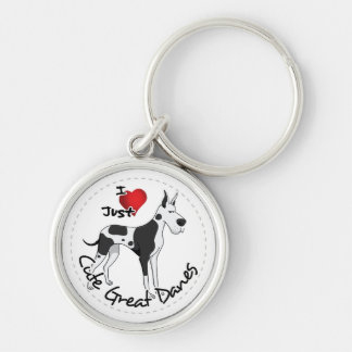 Happy Adorable Funny & Cute Great Dane Dog Keychain