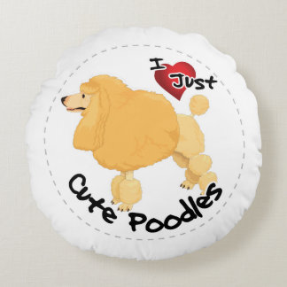 Happy Adorable Funny & Cute Poodle Dog Round Pillow