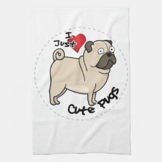 Happy Adorable Funny & Cute Pug Dog Kitchen Towel