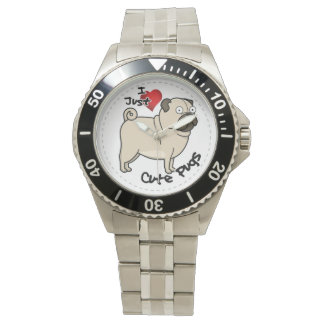 Happy Adorable Funny & Cute Pug Dog Wristwatches