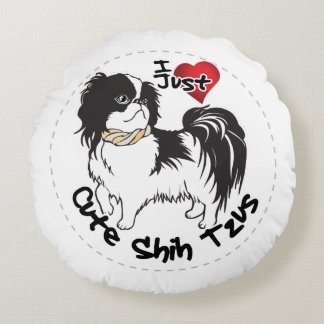 Happy Adorable Funny & Cute Shih Tzu Dog Round Pillow
