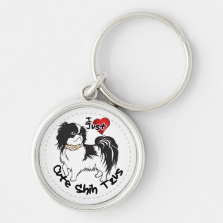 Happy Adorable Funny & Cute Shih Tzu Dog Silver-Colored Round Keychain