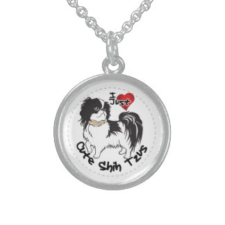 Happy Adorable Funny & Cute Shih Tzu Dog Sterling Silver Necklace