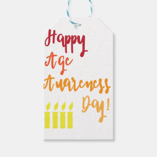 Happy age awareness day funny birthday pack of gift tags