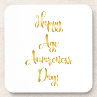 Happy age awareness day gold funny birthday beverage coaster