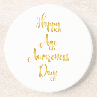 Happy age awareness day gold funny birthday beverage coasters