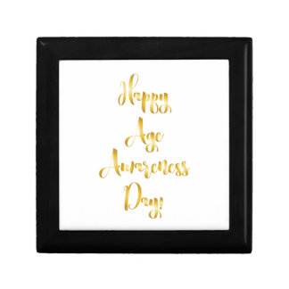 Happy age awareness day gold funny birthday gift box