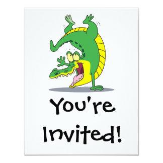 happy alligator crocodile cartoon dancing card