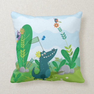 "Happy Alligator Polyester Throw Pillow 16"" x 16"""