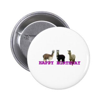 Happy (alpaca)  birthday button