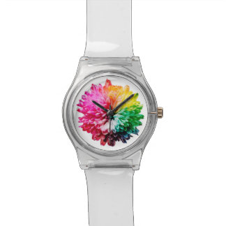 Happy and Bright Clear Watch with Rainbow Flower