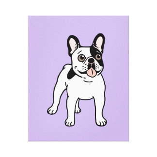 Happy and Fun Single Hooded Pied Frenchie Canvas Print