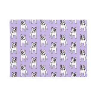 Happy and Fun Single Hooded Pied Frenchie Doormat