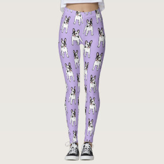 Happy and Fun Single Hooded Pied Frenchie Leggings