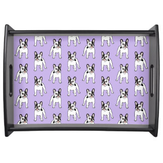 Happy and Fun Single Hooded Pied Frenchie Serving Tray