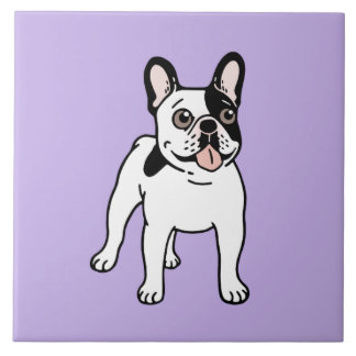 Happy and Fun Single Hooded Pied Frenchie Tile