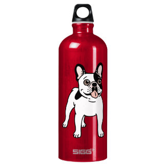 Happy and Fun Single Hooded Pied Frenchie Water Bottle