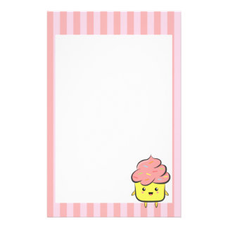 Happy and Kawaii cupcake with colorful sprinkles Custom Stationery