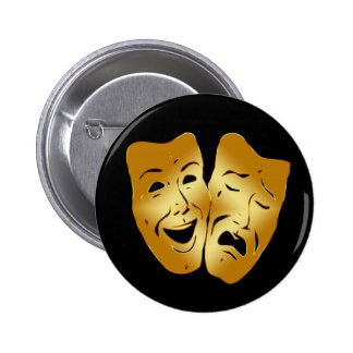 HAPPY AND SAD THEATER MASKS 2 INCH ROUND BUTTON