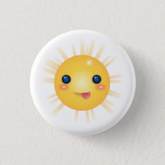 Happy and Smiley Cartoon Sun Face 1 Inch Round Button