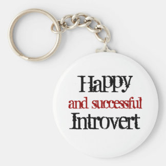 Happy and successful introvert basic round button keychain