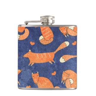 Happy animal fox pattern hip flask