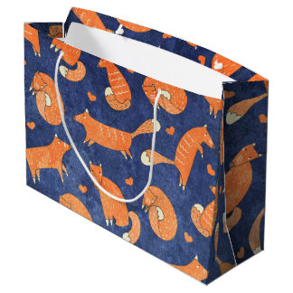 Happy animal fox pattern large gift bag