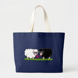 Happy  Animal - Snowie & Blackie Sheeps Large Tote Bag