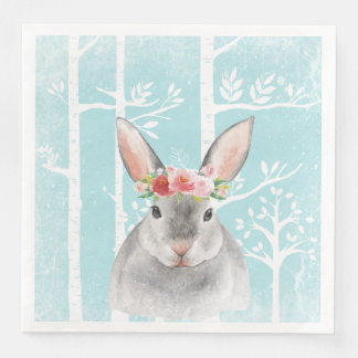 Happy Animal with Flowers in Blue Forest-Bunny Paper Napkin