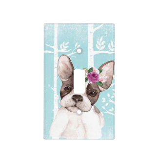 Happy Animal with Flowers in Blue Forest-Dog-Pug Light Switch Cover