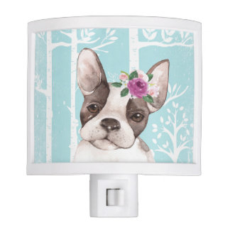 Happy Animal with Flowers in Blue Forest-Dog-Pug Nite Lites