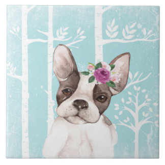 Happy Animal with Flowers in Blue Forest-Dog-Pug Tile