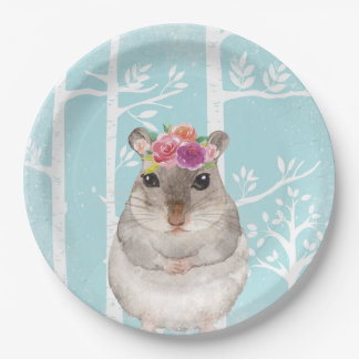 Happy Animal with Flowers in Blue Forest-Hamster Paper Plate
