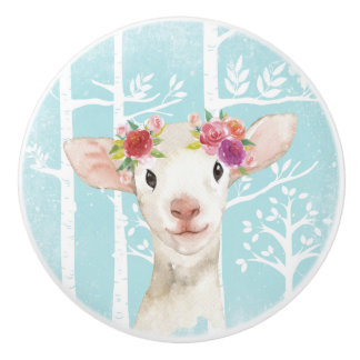 Happy Animal with Flowers in Blue Forest-Sheep Ceramic Knob