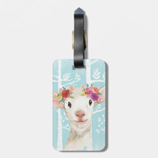 Happy Animal with Flowers in Blue Forest-Sheep Luggage Tag