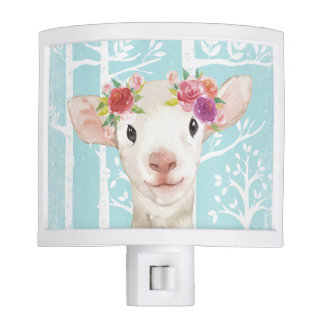 Happy Animal with Flowers in Blue Forest-Sheep Night Lite