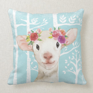 Happy Animal with Flowers in Blue Forest-Sheep Throw Pillow