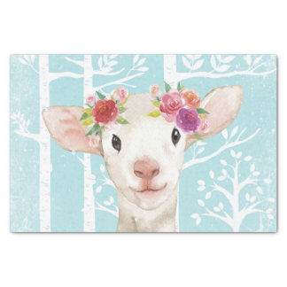 Happy Animal with Flowers in Blue Forest-Sheep Tissue Paper